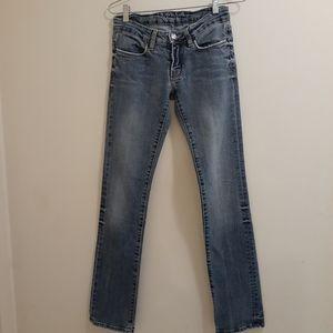 Bebe Distressed Straight Leg Jean